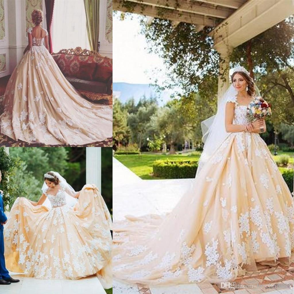 Retro Wedding Dresses.Vintage Champagne 18th Century Retro Wedding Dresses Lace Appliques Cap Sleeves A Line Wedding Gowns Floor Length Custom Made