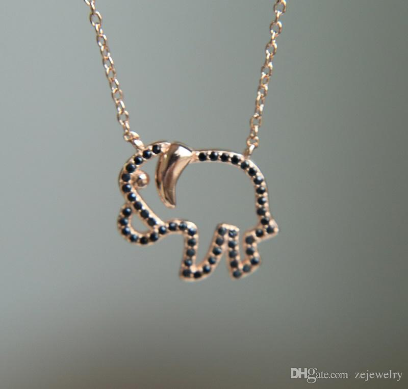 delicate tiny chain 925 sterling silver elephant charm necklace with truquoise stone paved rose gold black cz silver turquoise stone jewelry
