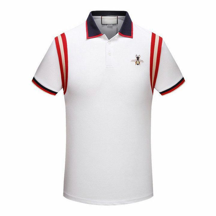 69484a67a9 Compre 2018 Verão Novo Designer De Roupas De Marca De Luxo Homens Tecido Listrado  Polo Bordado Abelha T Shirt Turn Down Collar Casual Mulheres Tshirt ...