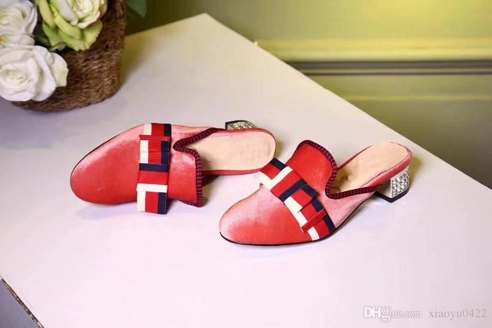 7ee213522de8 Spring Fall Brand Women Slipper Delicate Bowtie Round Toes Chunky ...