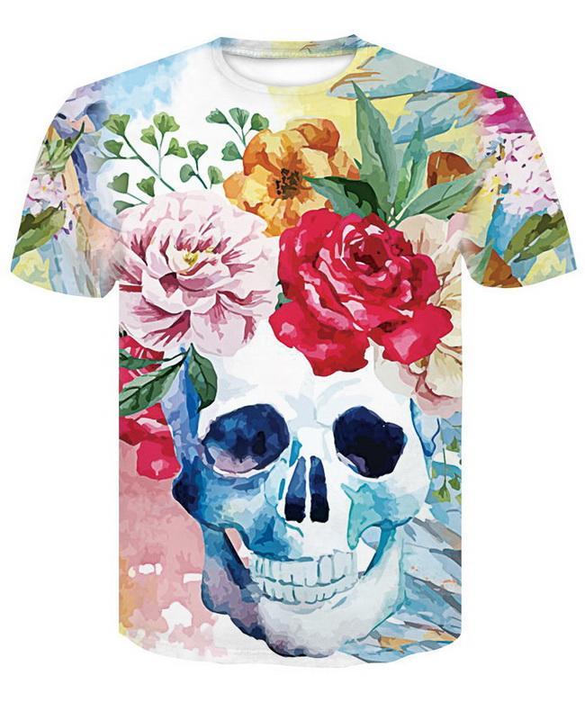Compre 2018 Nueva Moda 3d Peony Flor Cráneo T Shirt Amantes De Las Mujeres  De Manga Corta Del Verano Tops Tees 3d Camiseta A  11.06 Del Gleeshop  7a07d9479c9