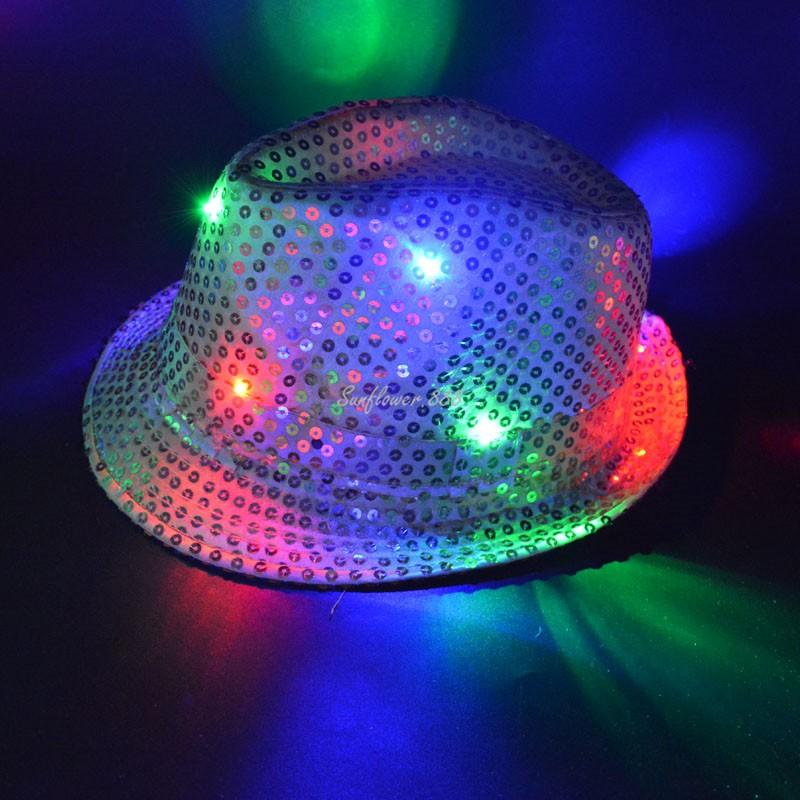 a66f069c17a LED Flashing Sequins Jazz Hats Fedora Hat Cap Party Show Dance for ...