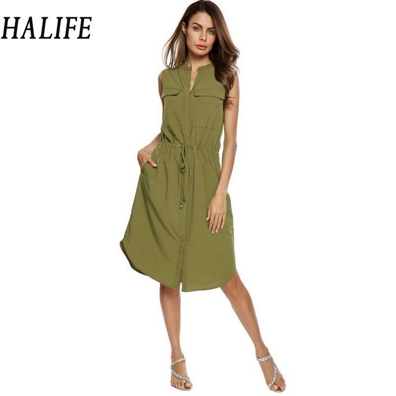 2019 Halife Women Summer Mid Calf Shirt Dress Casual V Neck
