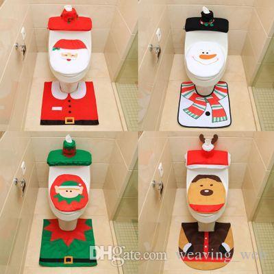 christmas bathroom seat santa claus toilet seat bathroom decor lid cover contour rug set bathroom xmas supplies decoration find christmas decorations - Christmas Bathroom Decorations