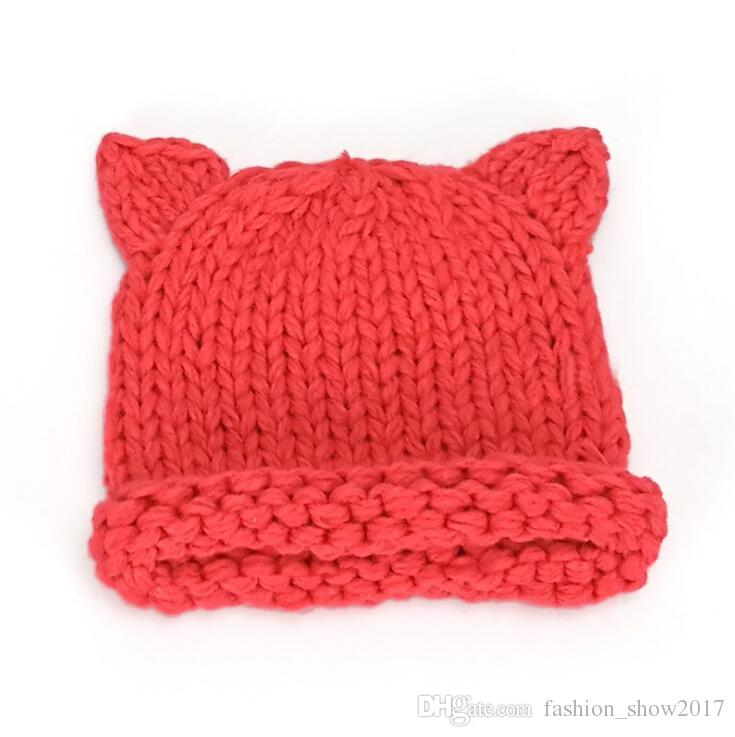 Handmade Knitted Cute Baby Girl Boy Winter Hat Cat Ears Lovely Cartoon Design Baby Hat Crochet Pattern Hat