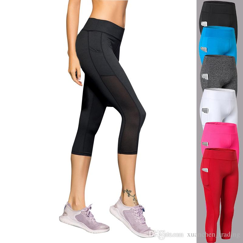 3e710fede1232a 2019 Calf Length Pants Capri Pant Sport Leggings Women Fitness Yoga Gym  High Waist Legging Girl Black 3/4 Yoga Pants Female From Xuanchen_trading,  ...
