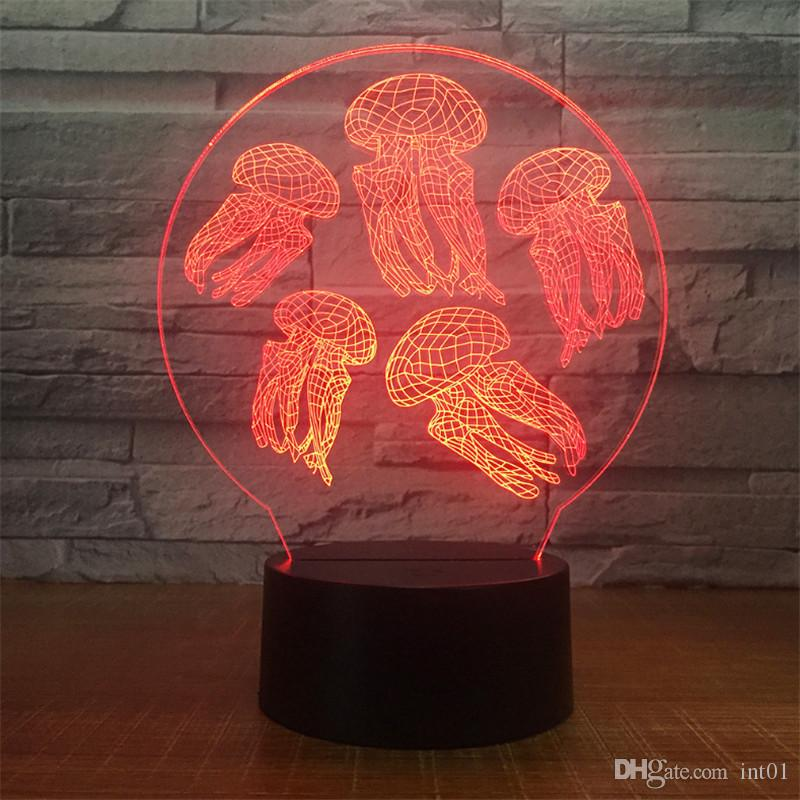 Wholesale New Design DC 5V USB Powered AA Battery Powered Hot 3D Jellyfish Pattern Illusion Lamp 7 RGB Lights 3D LED Night Light