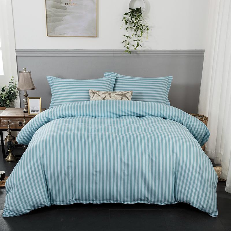 Bedding Set Green Stripe Soft Duvet Cover With Pillowcase Bedlinen