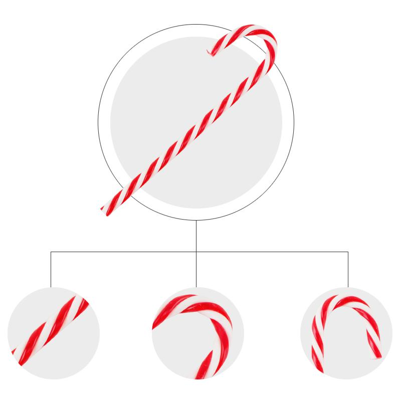 Hourong Xmas Candy Cane Ornaments Christmas Tree Plastic Hanging Pendant Decoration For Festival Party Christmas Decor