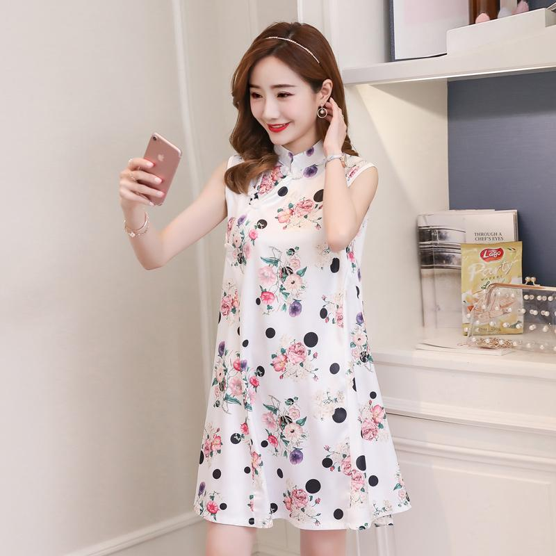 f77392ec83a6 2019 Chinese Cheongsam Style Maternity Dress Floral Printed Tank A Line  Clothes For Pregnant Women 2018 Summer Elegant Pregnancy From Mingway245