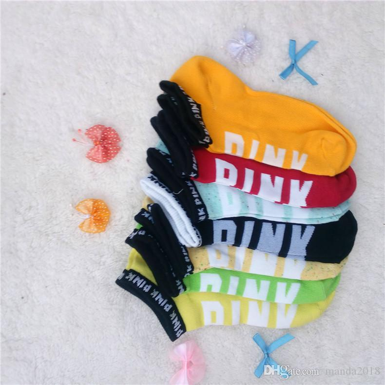 New Pink Letter Socks Pink Anklet Sports Hosiery Cotton Fashion Short Socks Slipper Girl Sexy Love Pink Ship Socks Summer Underwear W079