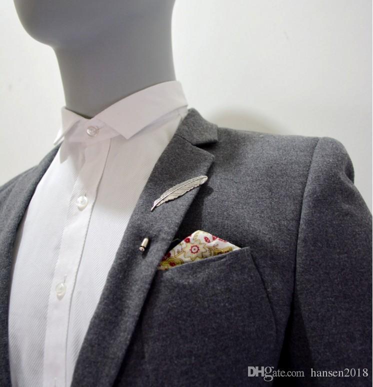 Broches de Segurança do vintage Pinos Forma de Penas de Prata Antigo Cor broches pinos Para As Mulheres Homens Vestido Camisola Queda