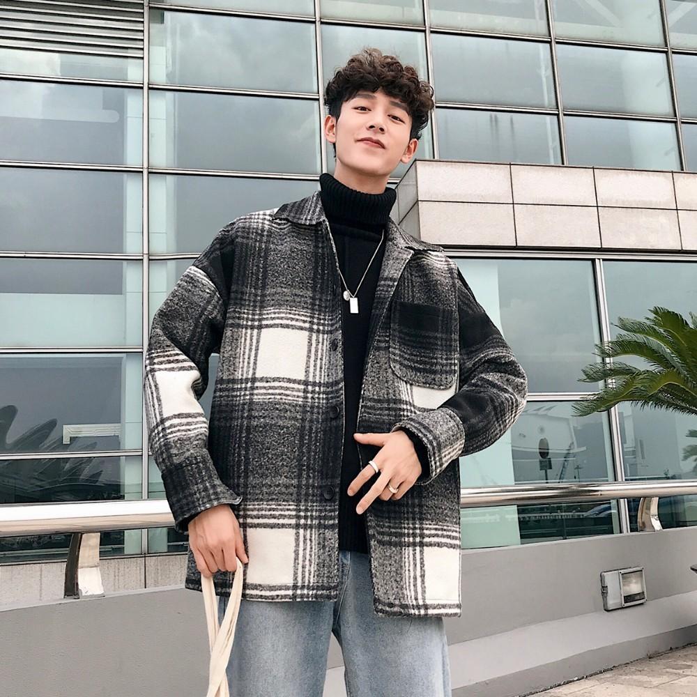 2019 2018 Korean Winter New Men S Fashion Vintage Style Lattice
