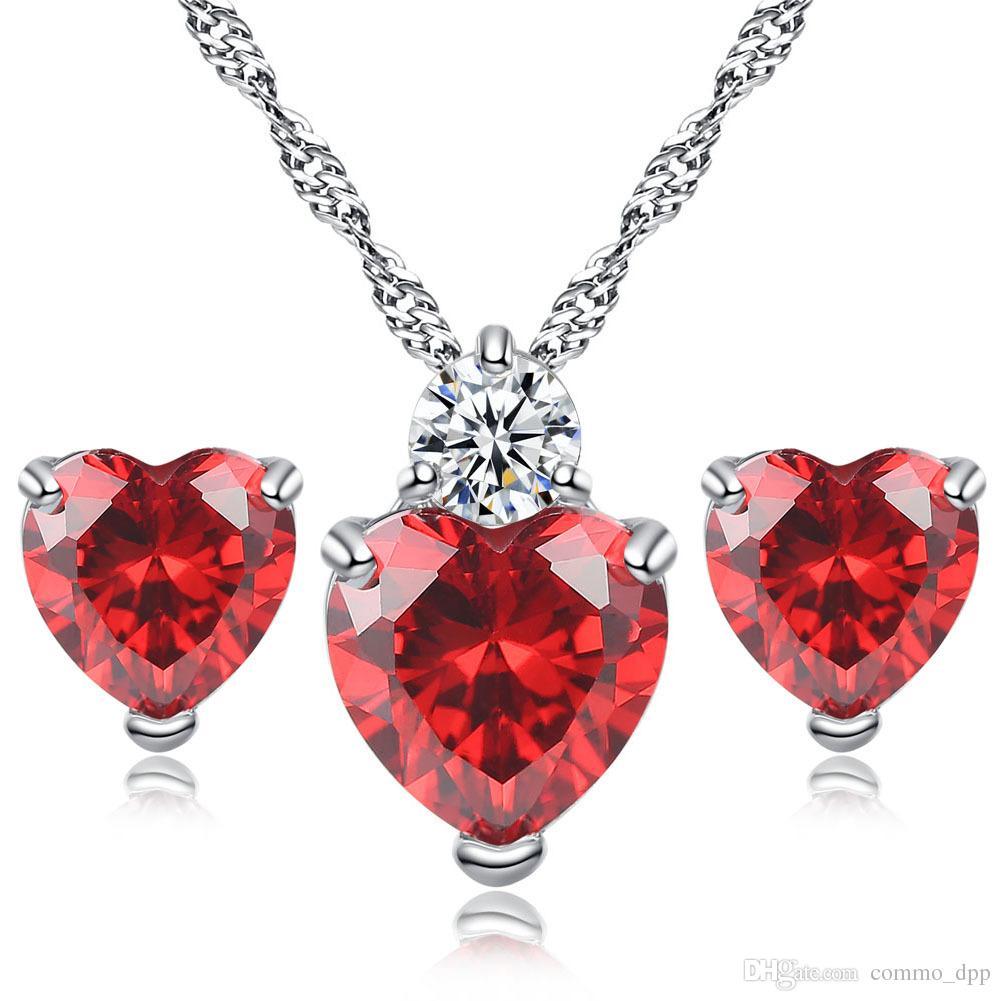 Haute qualité CZ coeur collier boucles d'oreilles ensembles cristal strass amour pendentif charme chaîne en argent Sterling pour les femmes mode Jewerly