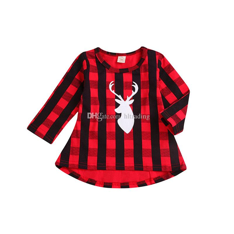 2018 baby girls red black lattice dress children christmas deer head plaid princess dresses 2018 fashion boutique kids clothing c5274 from hltrading