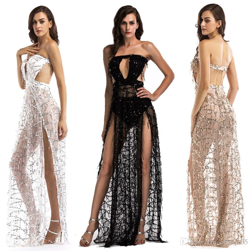 2ba160bd98 2019 Sexy Strapless Sheer Party Dress Keyhole Backless Slit Sequins Club  Dress Ladies Backless High Waist Tassels Maxi Evening Dresses LJH0420 From  Hhwq105