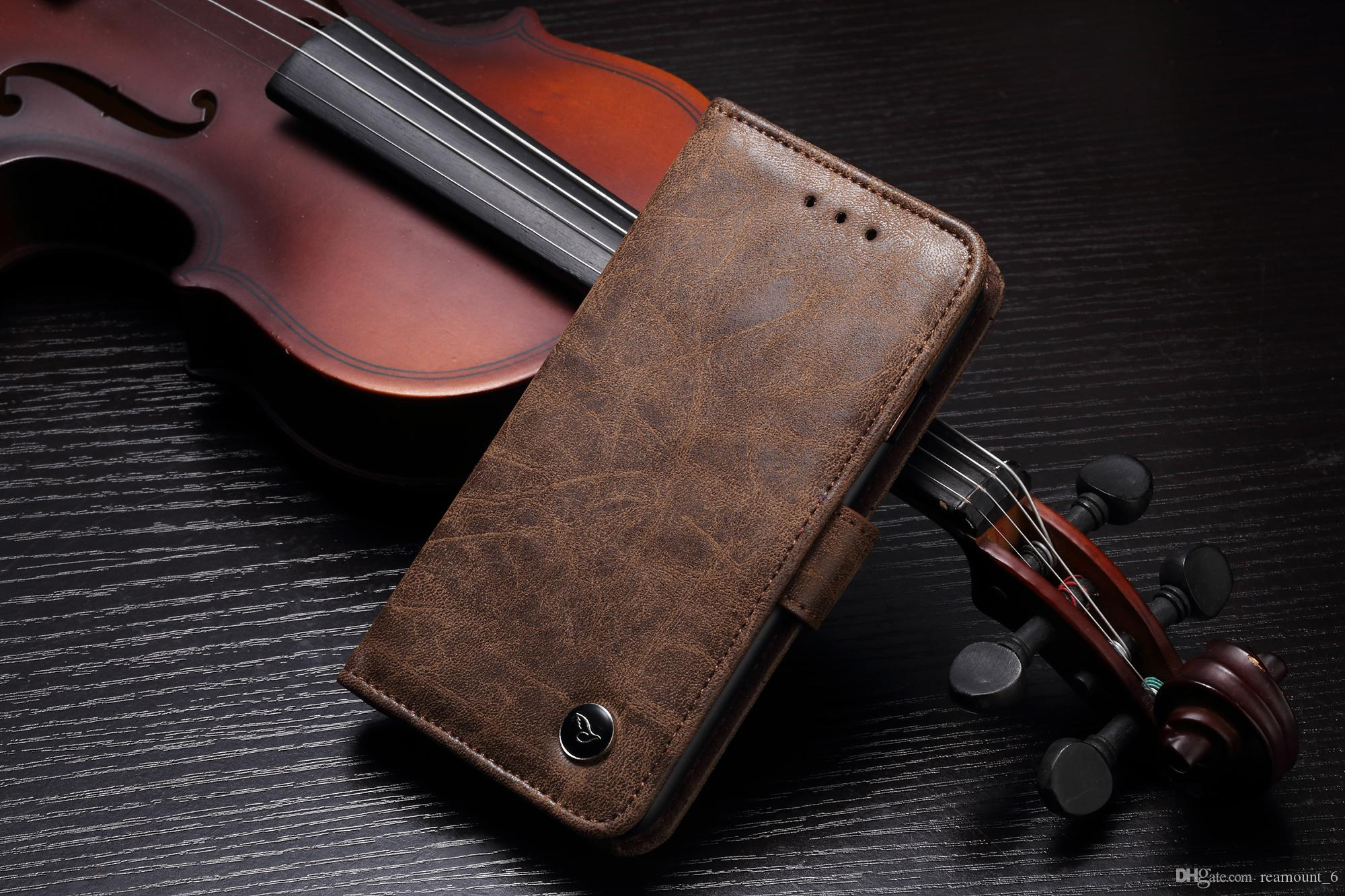 Retail Retro Leather PC Case for Samsung S8 Plus Card Pocket Cell Phone Protector for iPhone 8 7 Plus Wallet Case