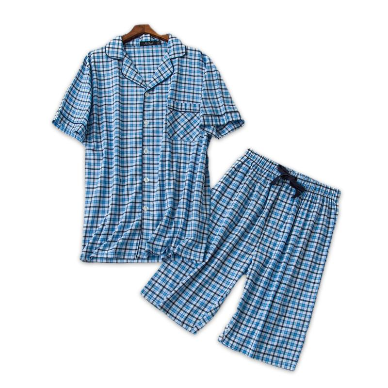 Fashion Plaid Short Pajamas Sets Men Summer Short-sleeve 100% Cotton ... 41a054a3e
