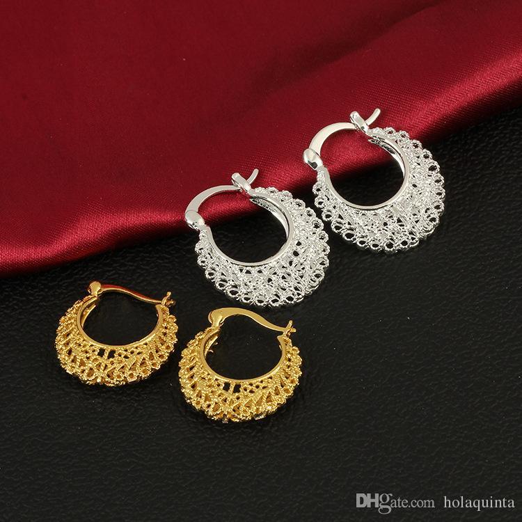 Wholesale earring,gold silver plated fashion jewelry Earrings,Openwork Flower Earing