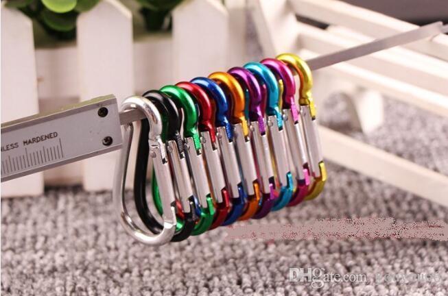 Carabiner Clipe Anel Chaveiros Chaveiro Ao Ar Livre Sports Camp Snap Gancho Keychains Caminhadas De Metal de Alumínio de Aço Inoxidável Camping Gadgets