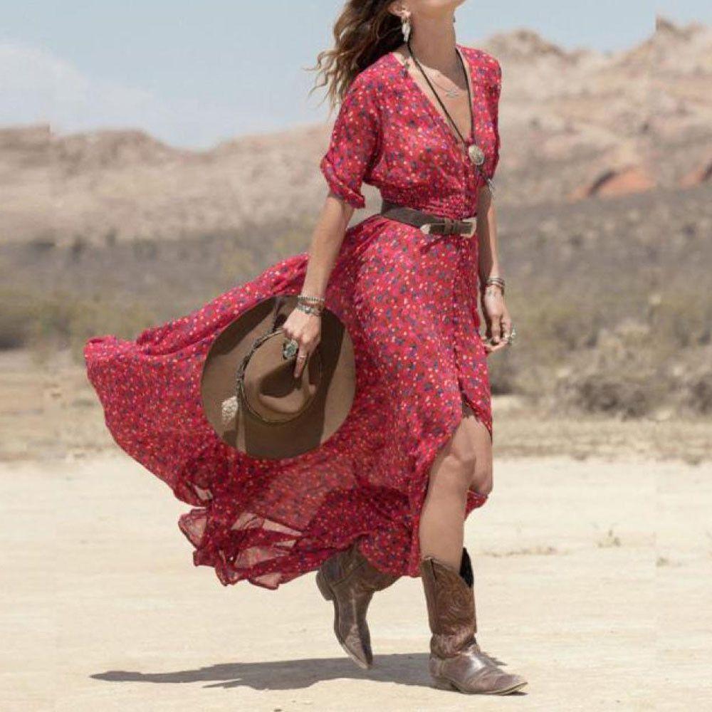 c0bd3b3fb0c93 Women Long Maxi Dresses Bohemia V-neck Three Quarter Sleeve Floral Print  Summer Beach Female Split Stylish Style Dress