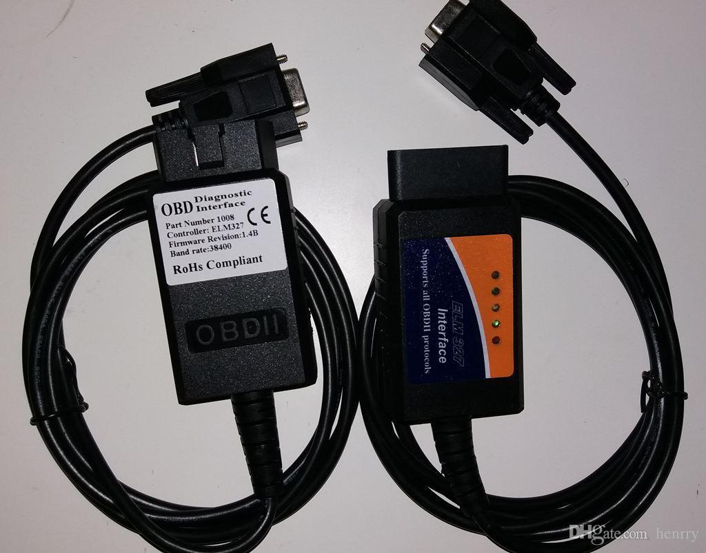 ELM 327 COM Port RS232 Plastic OBDII Scanner Automotive Diagnostic Tools ELM327 RS 232 OBD2 Scanner Tool