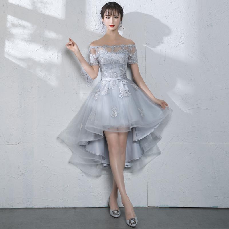 Новое Прибытие Леди Коктейльное Платье Бато Привет-Lo Вечернее Платье Homecoming Платья Женщины Пром Платья Невесты Платье Серебристо-Красный Цвет D04