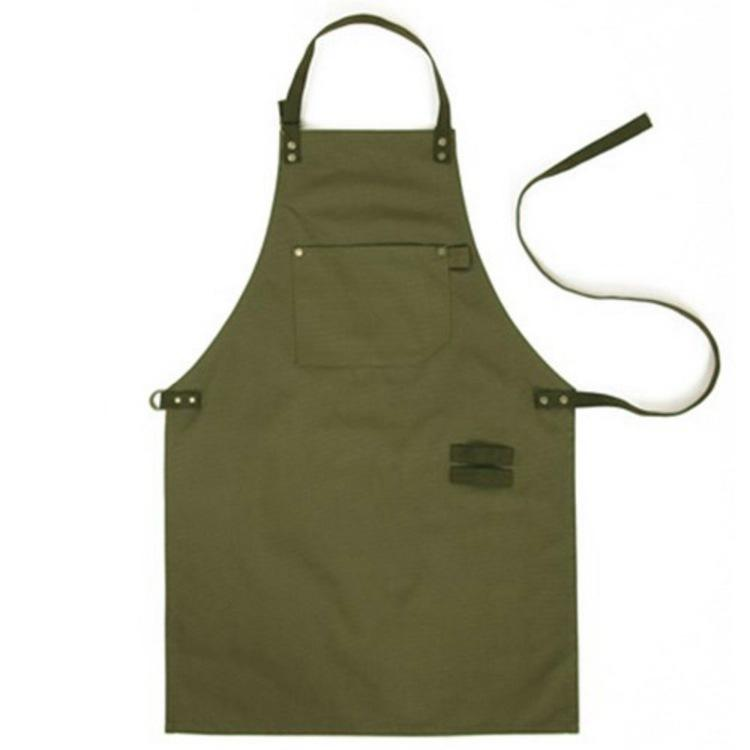 Army Green Denim Style Aprons Catering Kitchen Apron Unisex Woman ...