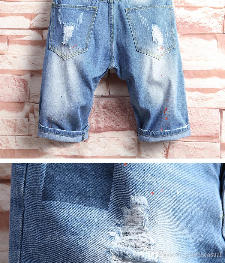 Mens Jean pantalones cortos de verano Ripped Denim Blue mitad de la longitud de la rodilla Pantalones cortos Pantalones cortos del ajustado
