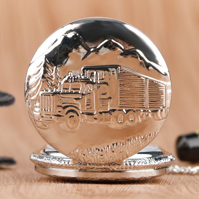 Luxury Silver Train Front Locomotive Lorry Carving Pocket Watch Simple Truck Car Pattern Slim Necklace Chain Unisex Quartz Clock