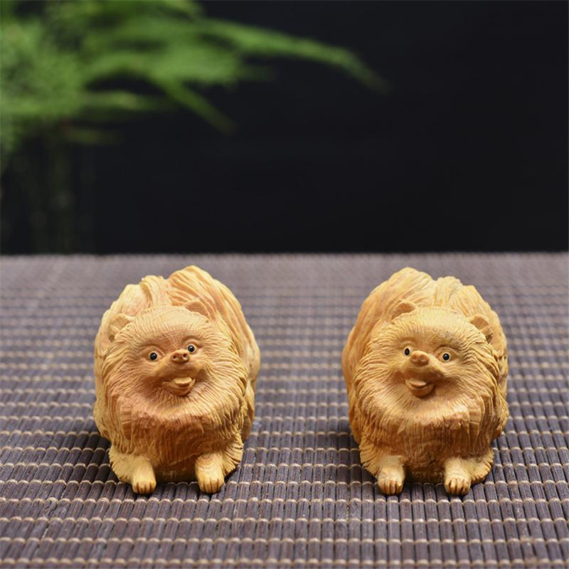 2019 Wood Statue Pomeranian Cute Dog Small Puppy Animal Statue