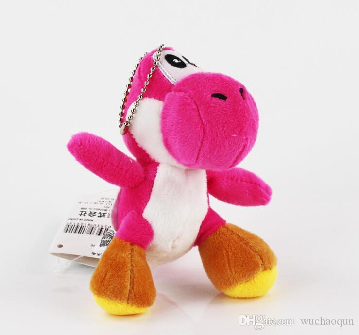 열쇠 고리 봉제 인형 슈퍼 마리오 브라더스 요시 공룡 드래곤 다채로운 봉제 장난감 펜던트 / 부지, 4