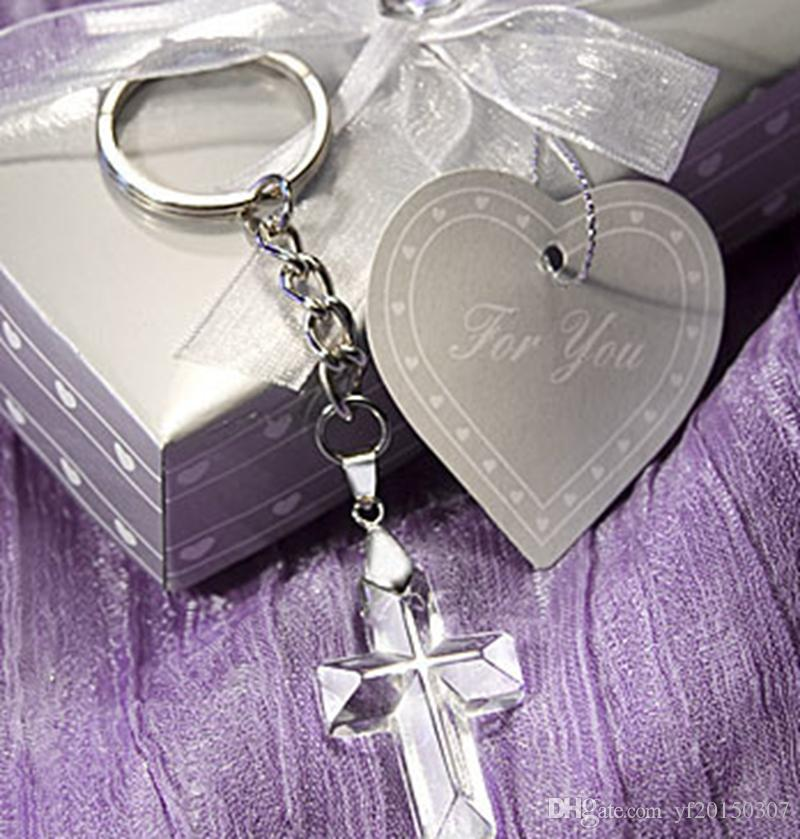 Crystal Cross Keychains In Gift Box Wedding Gifts Religious Party
