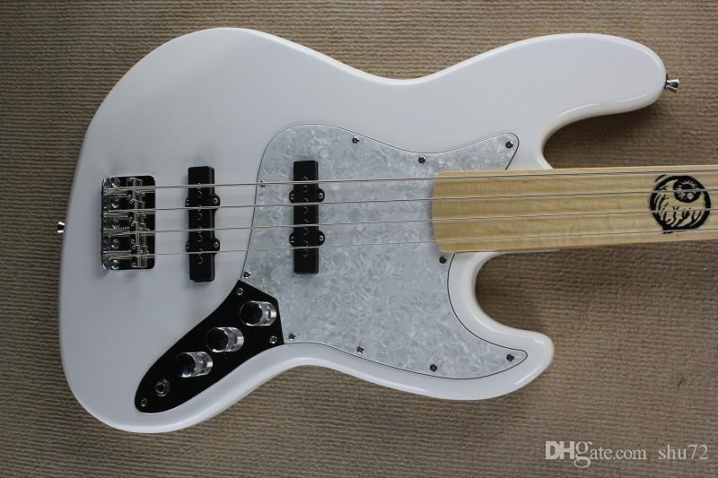 guitar factory New custom fretless Maple Fretboard jazz 4 strings white bass guitar reversed headstock 1 2