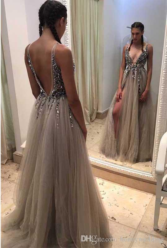 Backless Rhinestone Tulle Deep V Neck Sexy Prom Dress Long Floor Length  Split Prom Dress Slivery Party Gown Prom Dresses Under 100 Dollars Prom  Dresses ... 66717563c