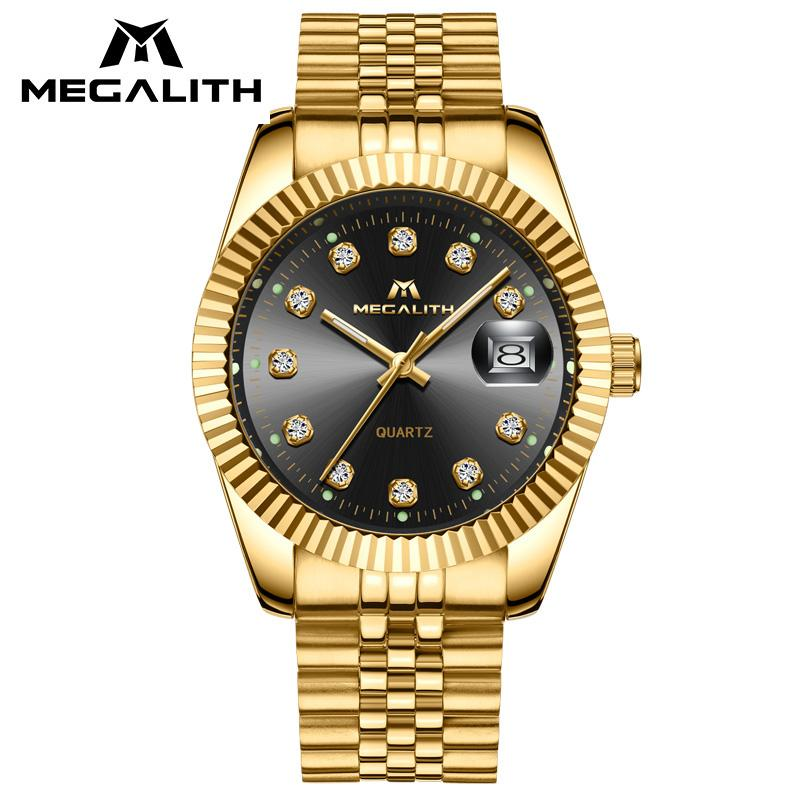fe7185677255 Luxury Gold Case Watch Men MEGALITH Waterproof Date Analogue Quartz Wrist  Watch Gents Stainless Steel Business Casual Men Watch Watches From Saucy
