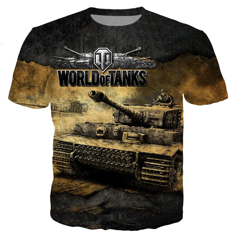 Novità Anime Cartoon Gioco World of Tanks T-Shirt Divertente 3D Stampato Donna / Uomo Manica Corta T-Shirt Unisex Top Casual K375