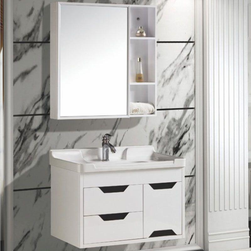 White Solid Wood Bathroom Cabinet Simple Modern Bathroom