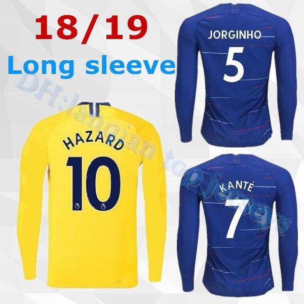 Compre 2018 2019 Camisas De Futebol Em Casa Manga Comprida Completa HAZARD  Camisa De Futebol Jersey 18 19 Pedro KANTE Morata FABREGAS Willian David  Luiz De ... c2eae88934187