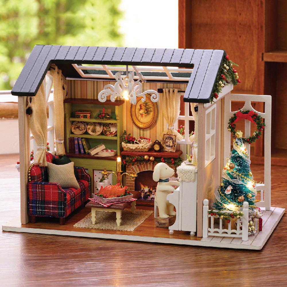 Wholesale Christmas Gifts Miniature DIY Doll House Model Building Kits Casa  De Boneca Wooden Furniture Toys Birthday Gifts Forest Times Dollhouse For  12 ...