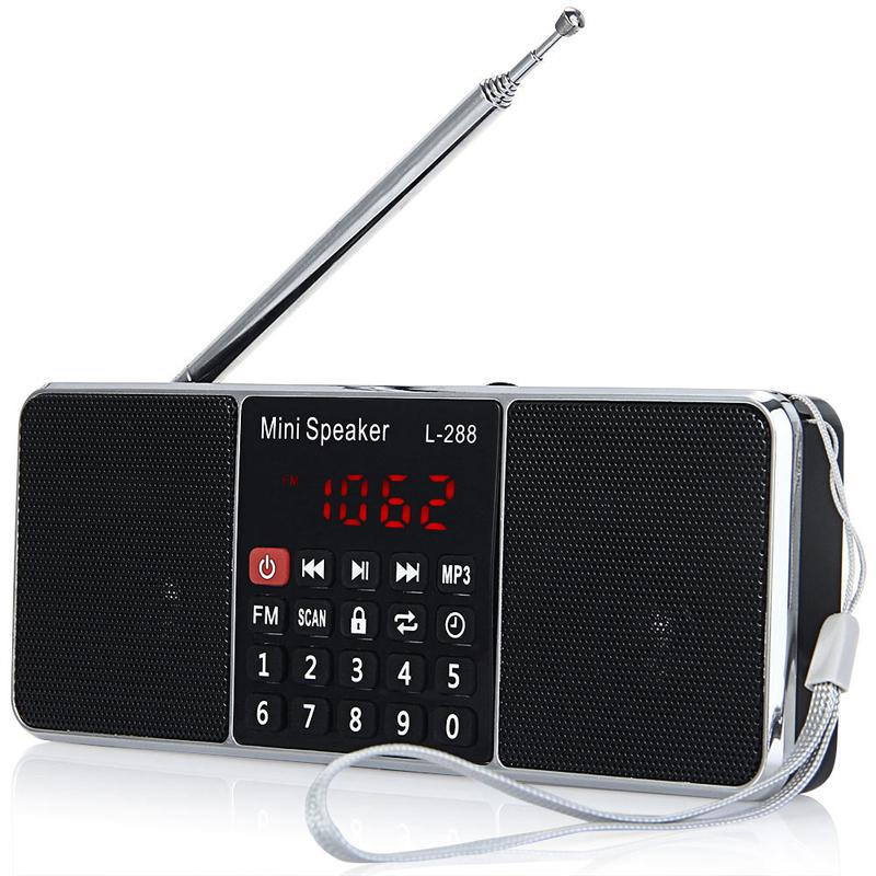 Rechargeable Mini Portable Radio L-288 FM Radio With Bass Stereo Sound Support TF Card USB Flash Drive LCD Screen Volume Control