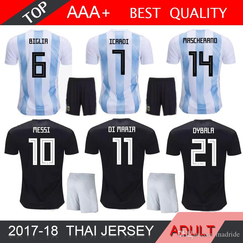 01106a30666 2019 2018 Argentina World Cup MESSI DYBALA Argentina Kids Kit Home Away Soccer  Jersey AGUERO DI MARIA HIGUAIN 2018 Home Football Shirts From Madride