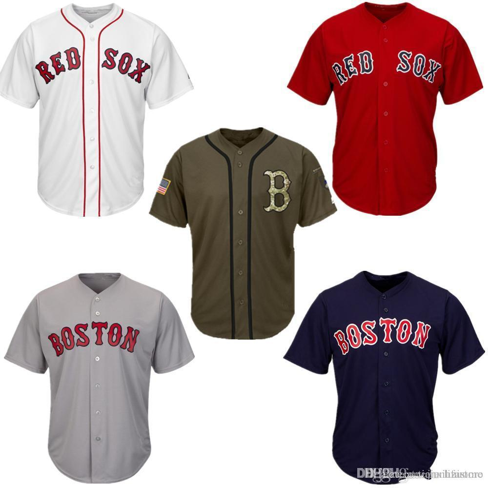 3522e1e68 2019 Men Women Youth Red Sox Jerseys Blank Jersey Baseball Jersey No Name  No Number White Gray Grey Navy Blue Red Green Salute To Service From ...