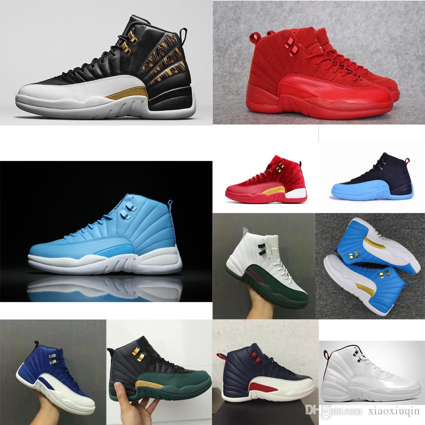 huge selection of ff6b8 81e26 2019 Cheap Men Retro 12s Basketball Shoes For Sale J12 Gamma Blue Rising Sun  White University Blue Wings Red Jumpman XII Sneakers Tennis With Box From  ...