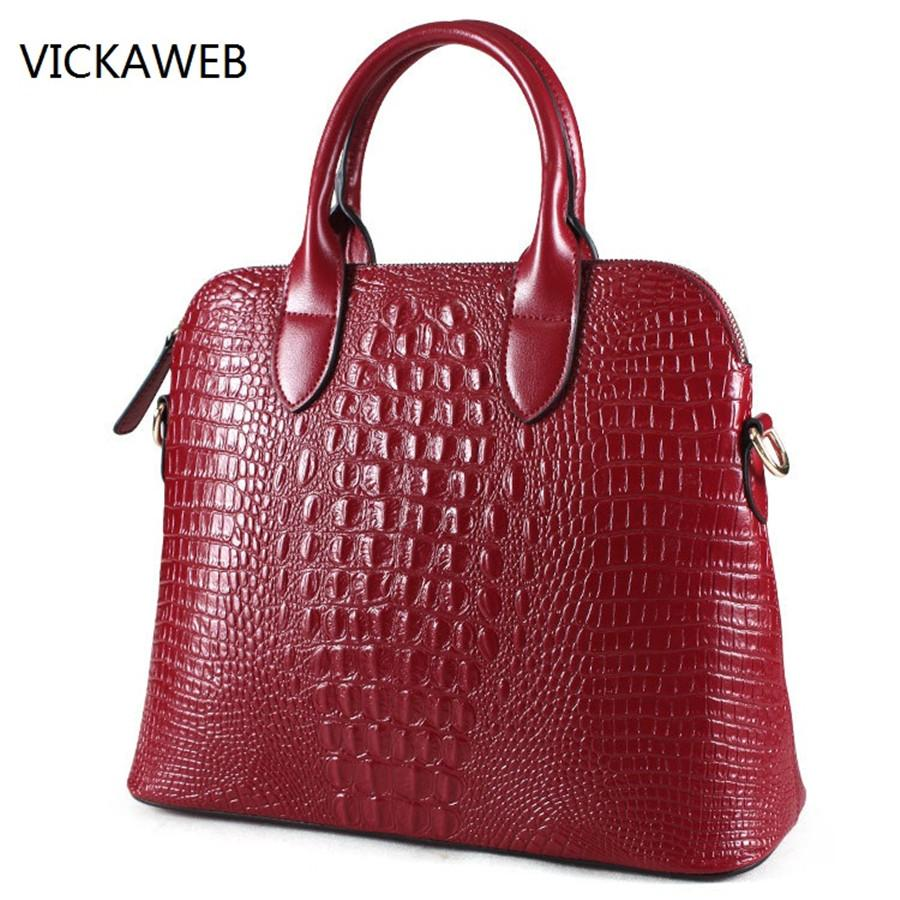 2569e1a3e431 Crocodile Pattern Women Handbag Genuine Leather Tote Bag Luxury ...