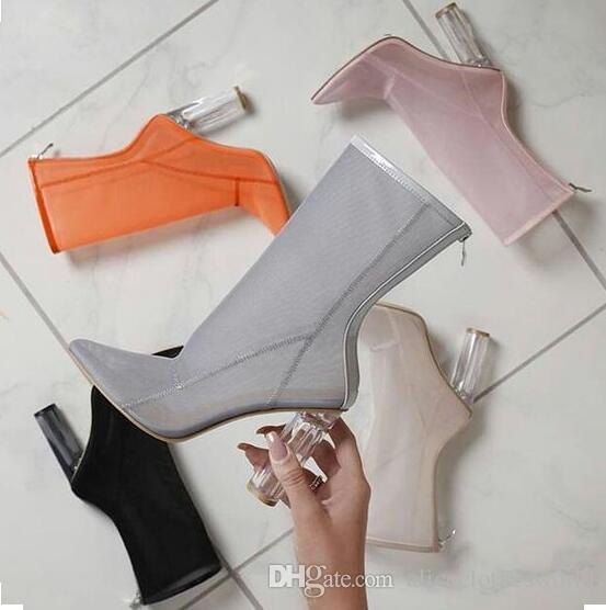 2019 New Women Mesh Boots Clear Perspex Heel Mesh Ankle Boots Transparent  Thick Heel Summer Boots Chunky Heels Woman Booties Grey Boots Brown Ankle  Boots ...
