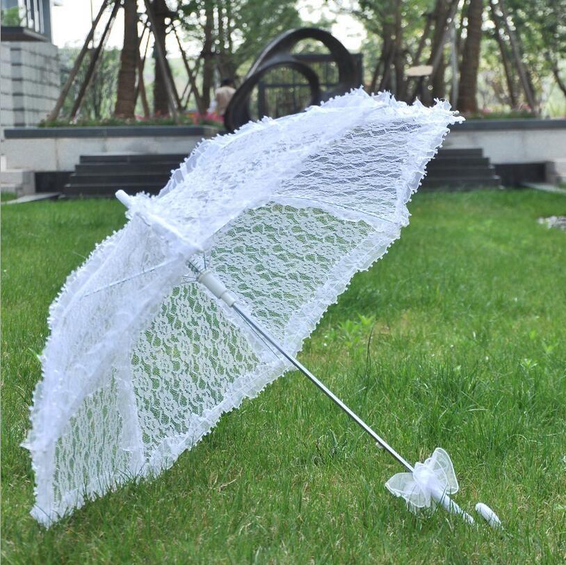 Stock Bridal Accessories Wedding Lace Parasol White Lace Umbrella Victorian Lady Costume Accessory Bridal Party Decoration Parasols Cheap