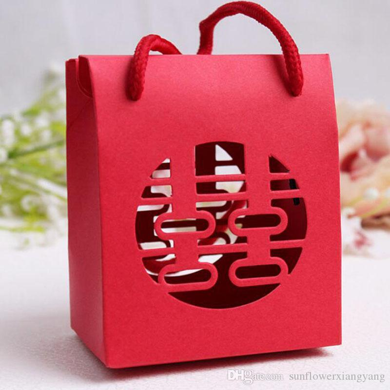 Chinese Traditional Red Double Happiness Wedding Gift Paper Bag With Handle Package Candy Box Free Shipping