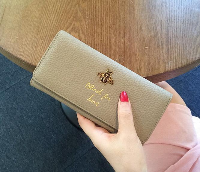 New women Genuine leather bee designer wallets female cow leather purses lady fashion clutchs black/light blue/purple/pink/khaki color no520