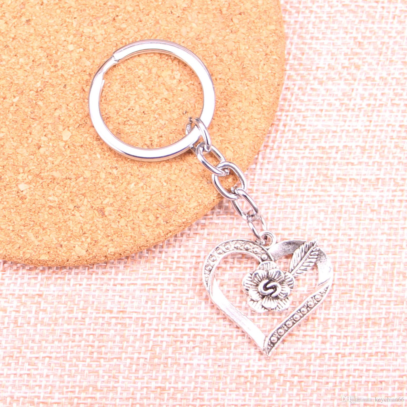 New Fashion 28*28mm heart flower KeyChain, New Fashion Handmade Metal  Keychain Party Gift